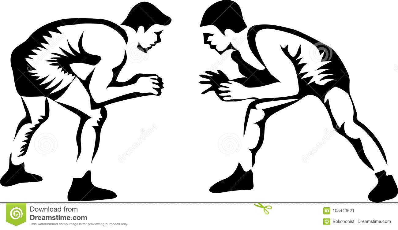 Wrestlers stock vector. Illustration of stylized, wrestlers.