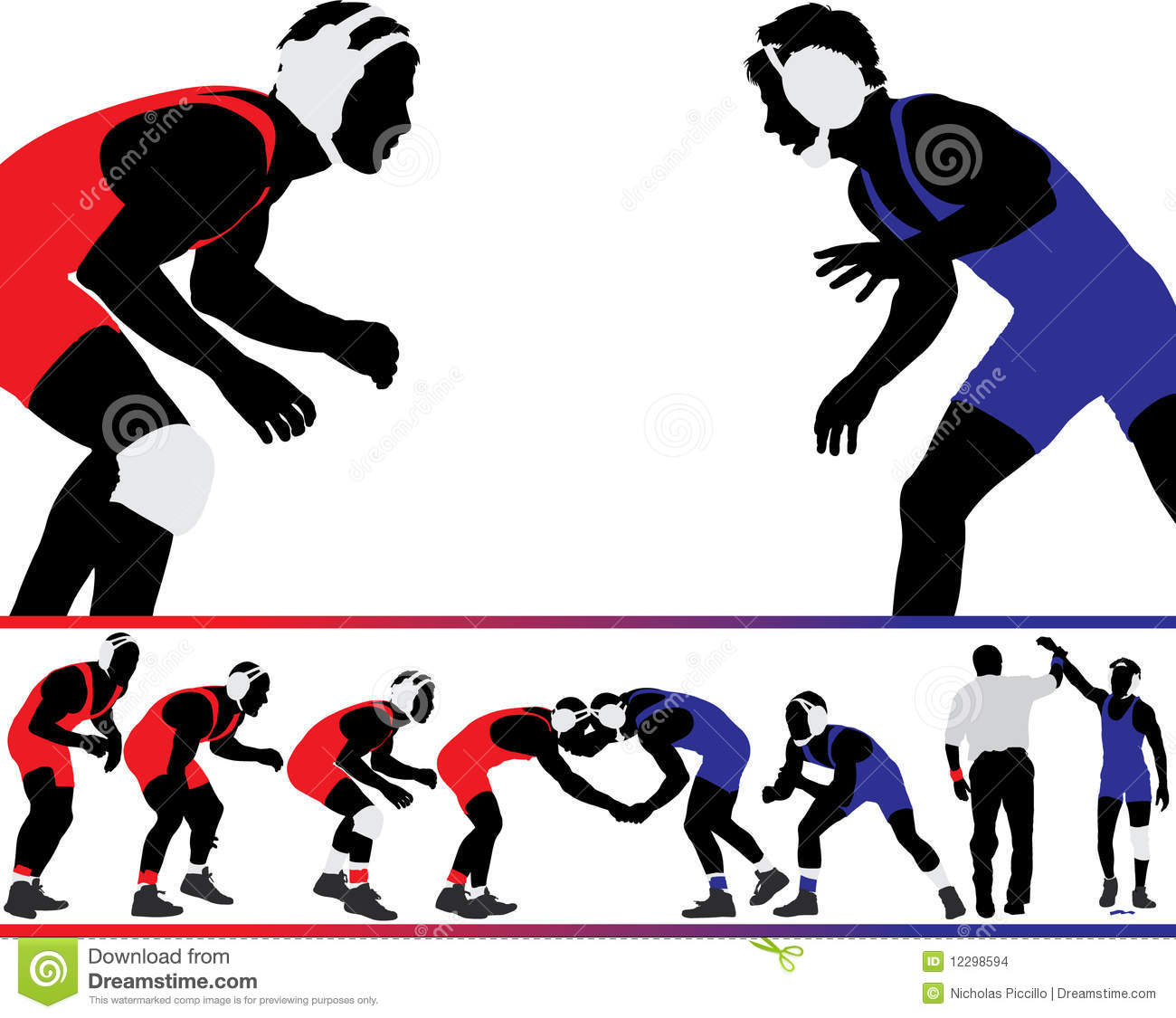 Wrestling Vector Silhouettes Stock Vector.