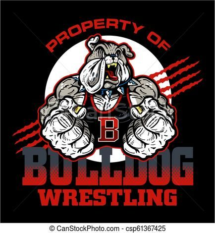 bulldog wrestling Vector.