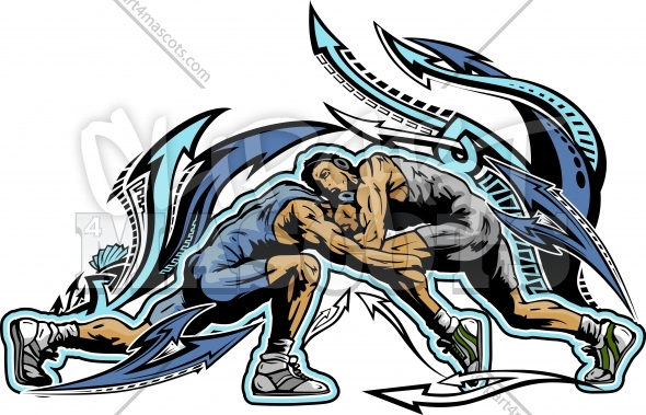Wrestling Clipart Graphic Vector Logo.