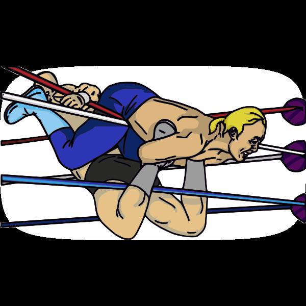 Professional wrestling maneuver vector image.