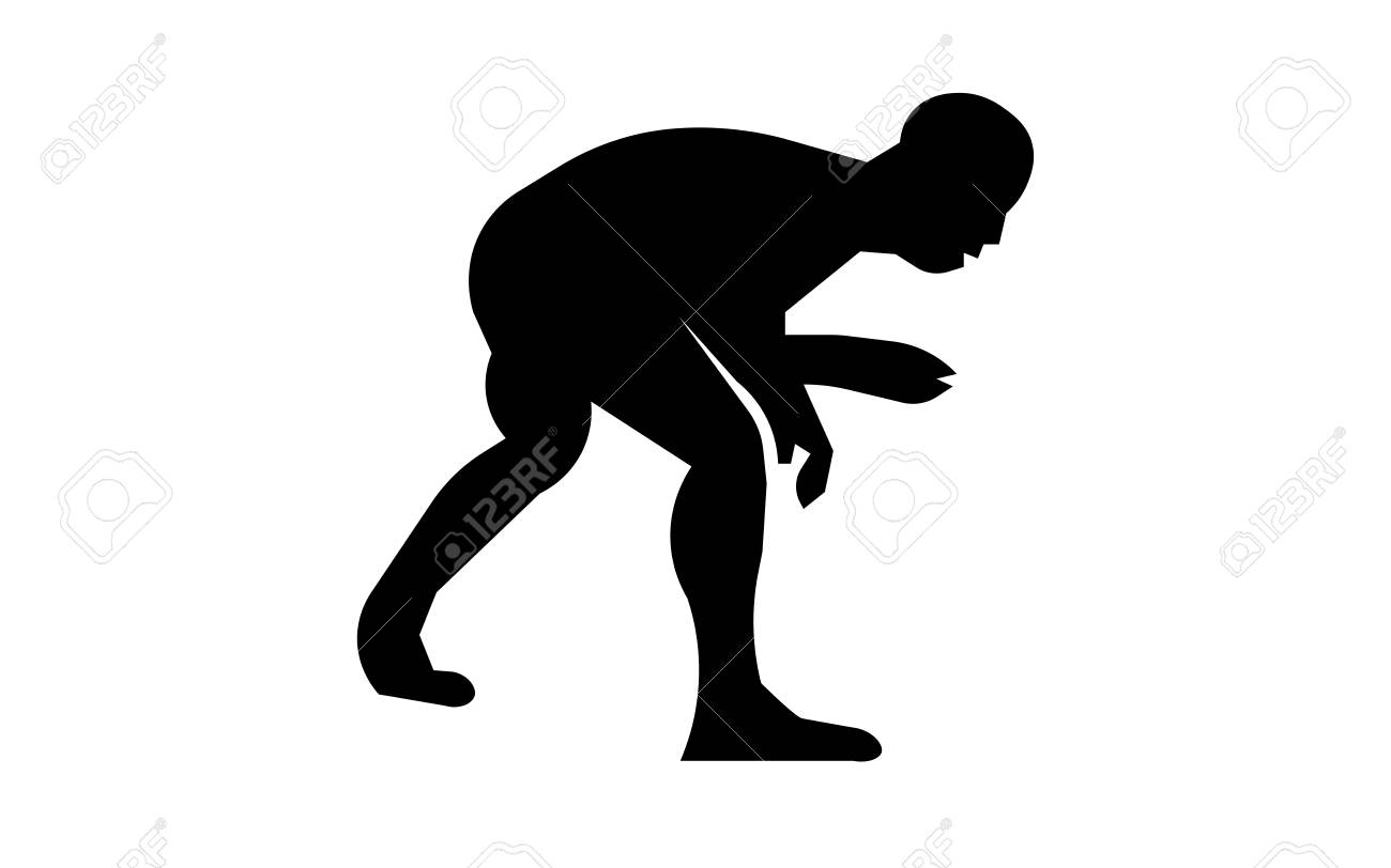 Wrestling silhouette clip art on white background.