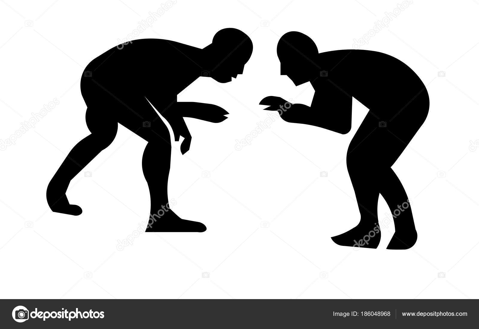 Wrestling silhouette clip art on white background — Stock Vector.