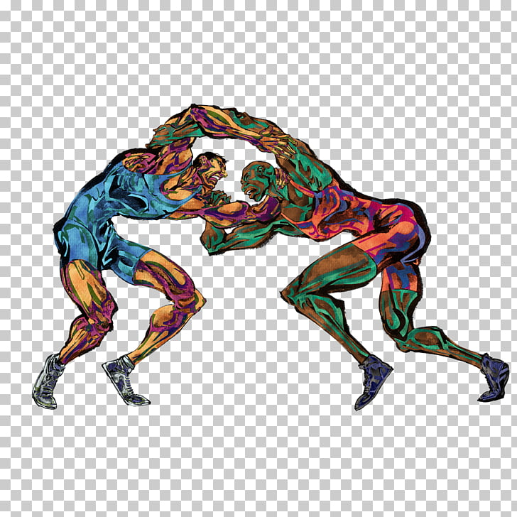 Wrestling Sport Cartoon Illustration, Wrestlers PNG clipart.