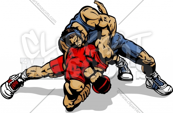 Wrestling Clipart Graphic Vector Cartoon.