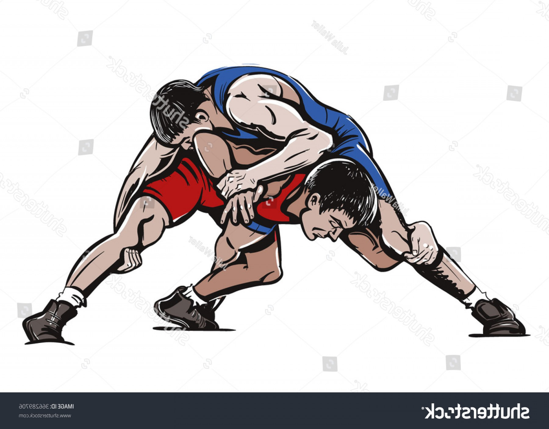 Vector Color Freestyle Wrestling Illustration.