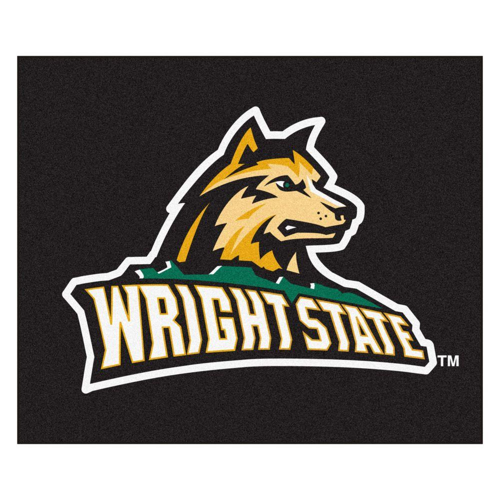 FANMATS NCAA Wright State University Black 5 ft. x 6 ft. Area Rug.