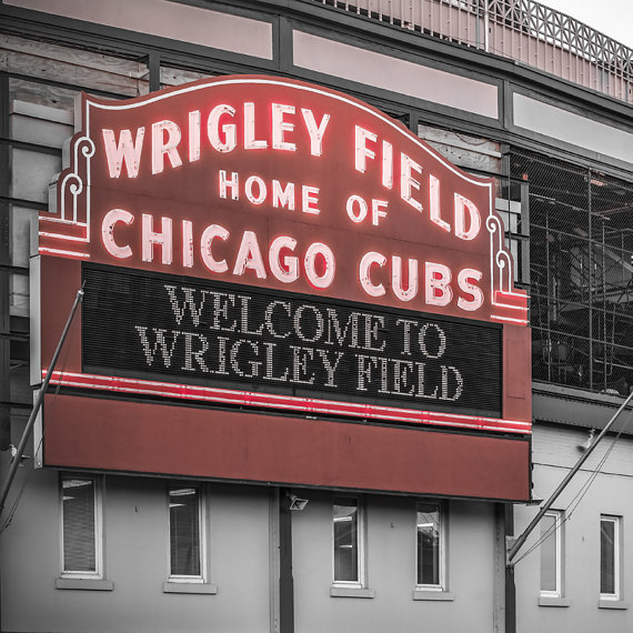 Chicago Cubs Wall Decor Wrigley Field Art Print Black and.