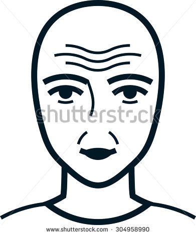 Vector Images, Illustrations and Cliparts: Face with wrinkles. Old.