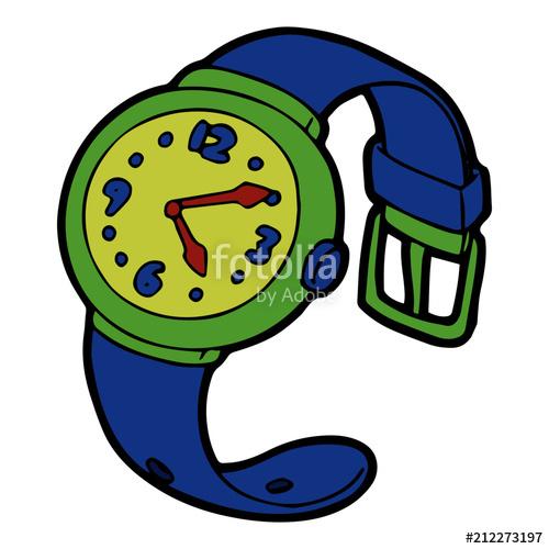 Wrist Watch cartoon illustration isolated on white.