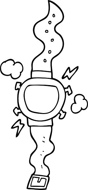 black and white cartoon wrist watch Clipart Image.