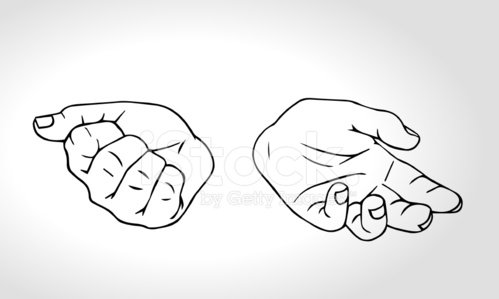 Two hands with open fist and close fist. Clipart Image.