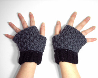 Knit Mittens that Convert to Fingerless Gloves Green and by.