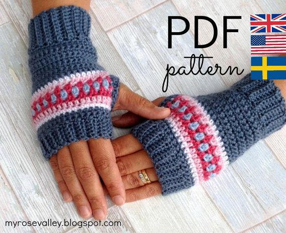 Crochet Wrist Warmers Pattern Nordic Wrist by MyRoseValley.