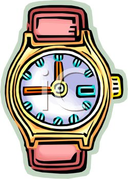 Picture of a Wrist Watch With No Band In a Vector Clip Art.