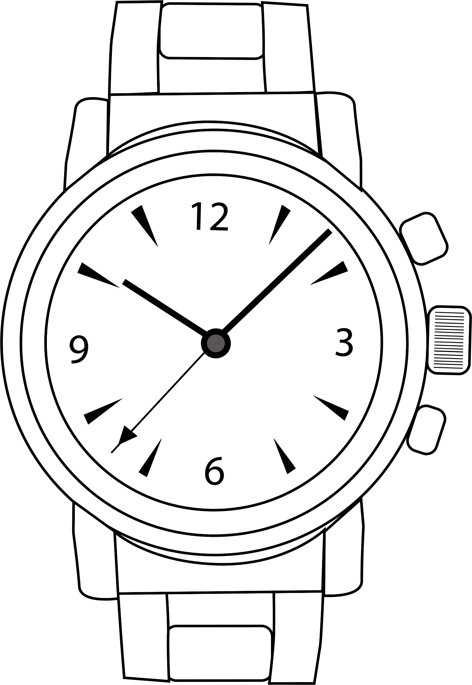 Wrist watch clipart black and white.