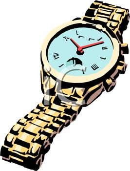 Picture of a Wrist Watch With a Silver Band In a Vector Clip Art.