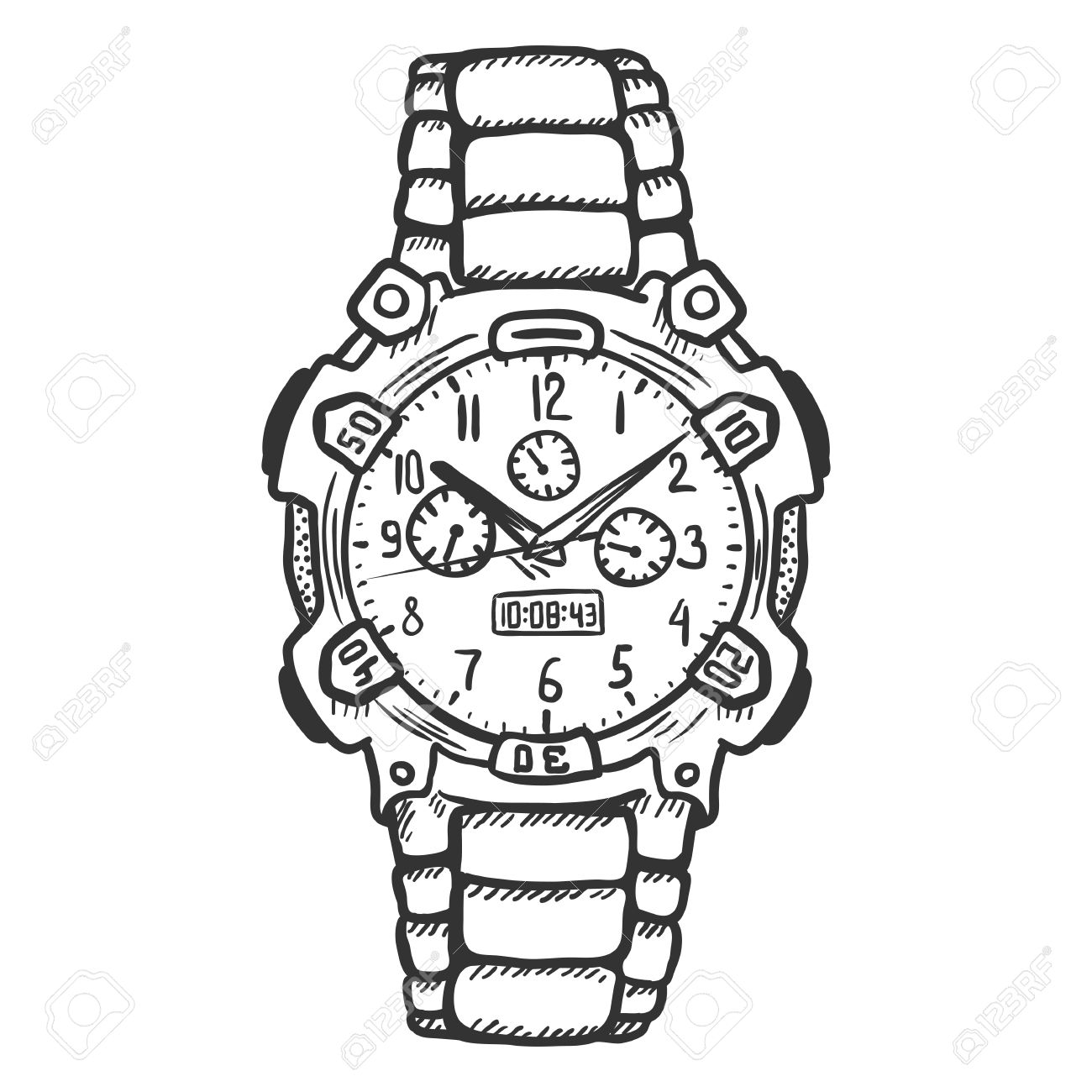 Vector Sketch Fashionable Mens Wrist Watch On White Background.