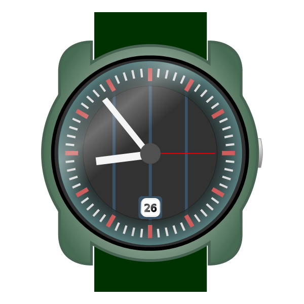 Analog wristwatch vector clip art.