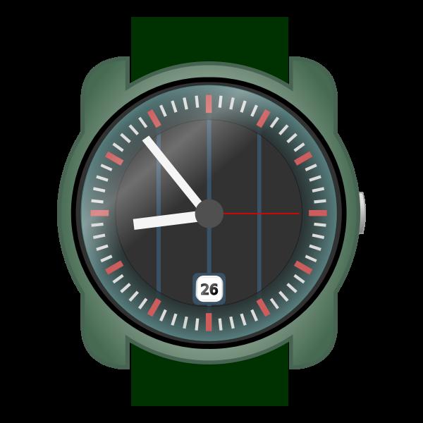 Analog wristwatch vector clip art.