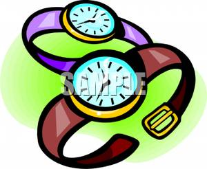 Purple and Brown Wristwatch Clipart Image.