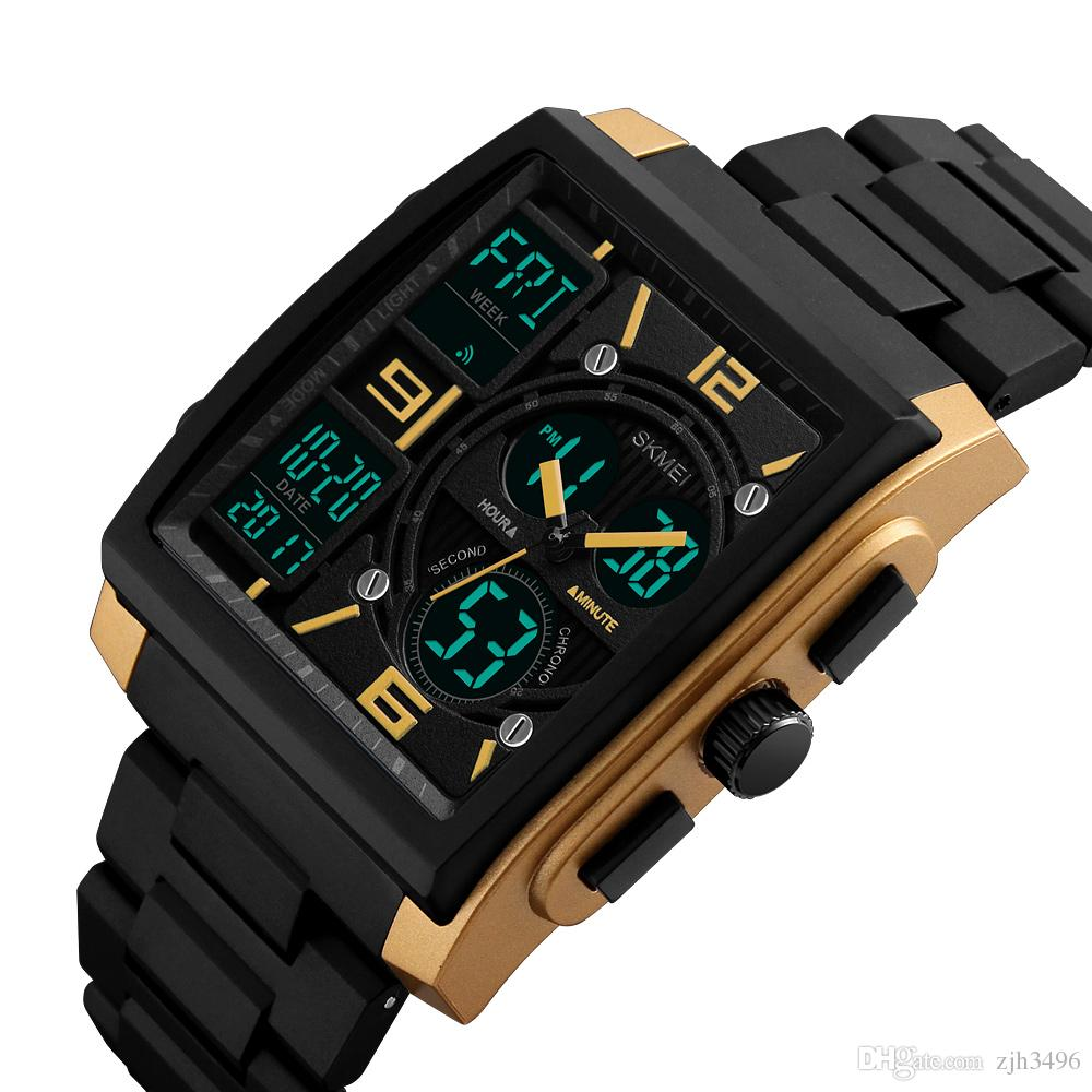 SKMEI Chrono Quartz Men Wristwatches Outdoor Sport Watch Led Digital  Chronograph 50M Waterproof Watches 1274 erkek kol saati.