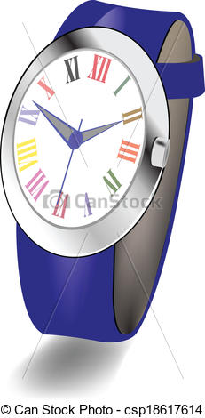 Vector Clip Art of Women's wristwatch with roman numer.