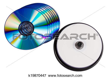 Picture of some blank writable DVD discs on white background.