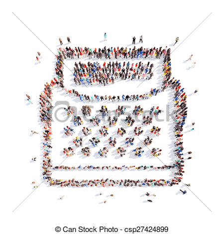 Stock Illustration of people in the shape of Writable machine..
