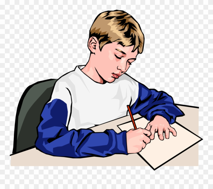 Vector Illustration Of Schoolboy Student Writing Answers.