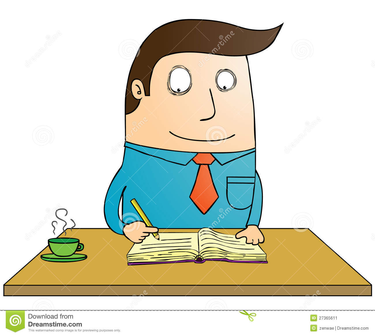 Person Writing A Book Clipart.
