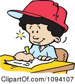 Clipart Creative Boy Writing Down Ideas.