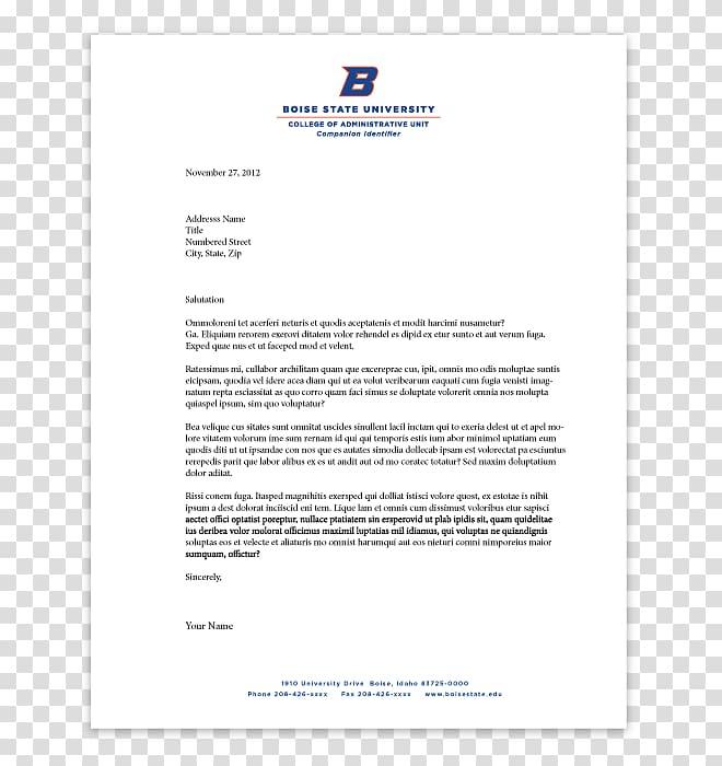 Letterhead Business letter Paper Boise State University.