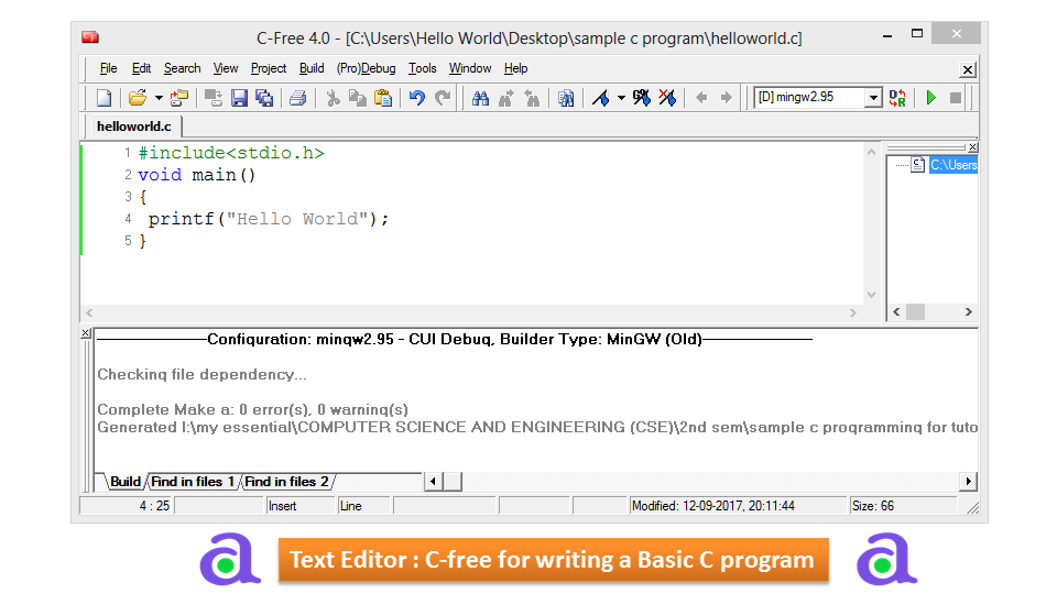 How to Write a Basic Program in C.