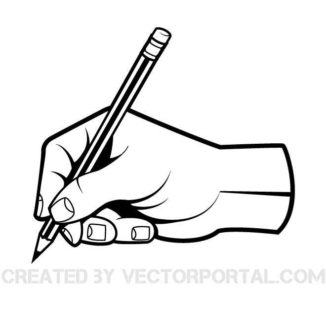 HAND WITH A PEN VECTOR CLIP ART.