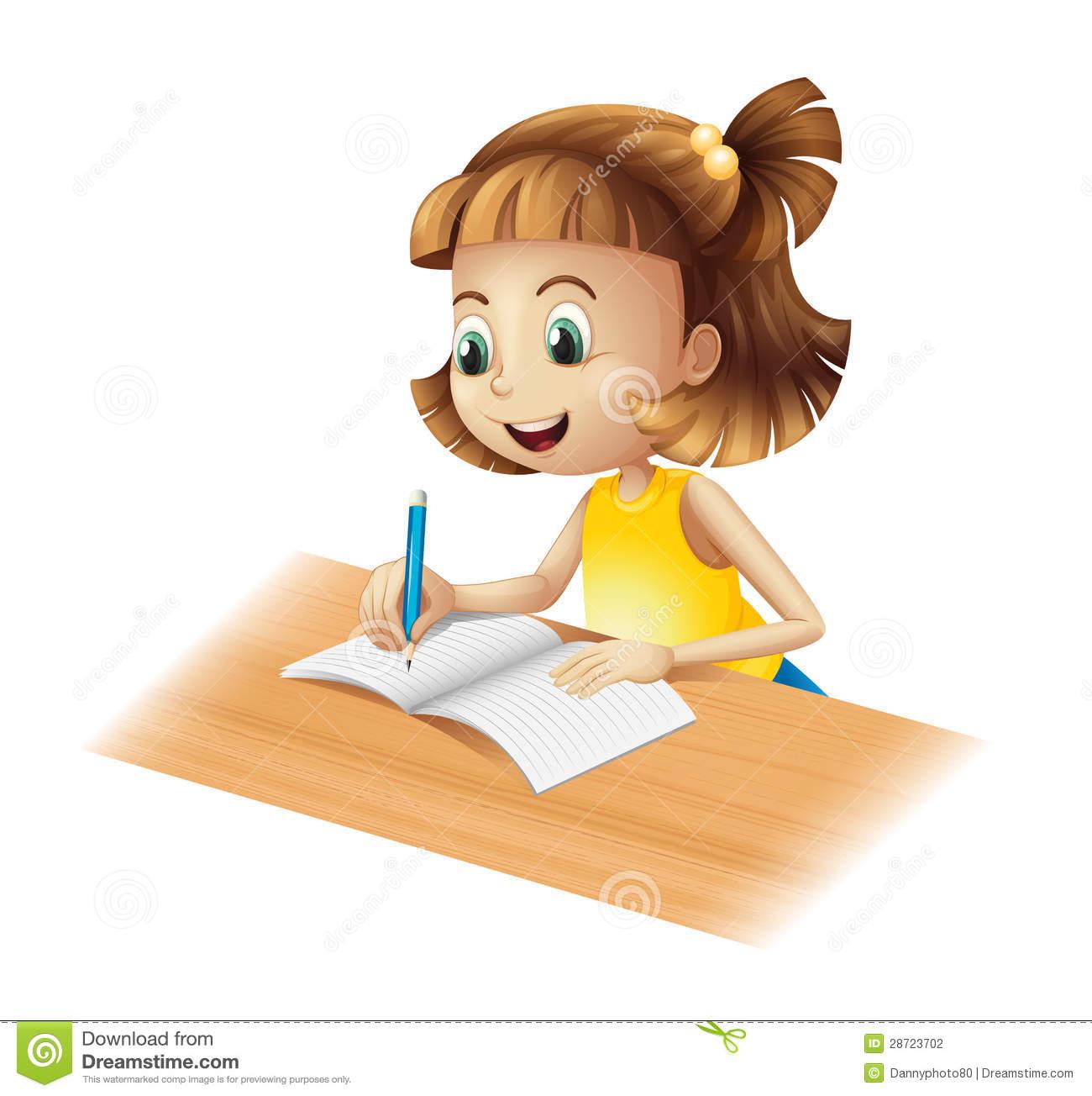Little Girl Writing Clipart.