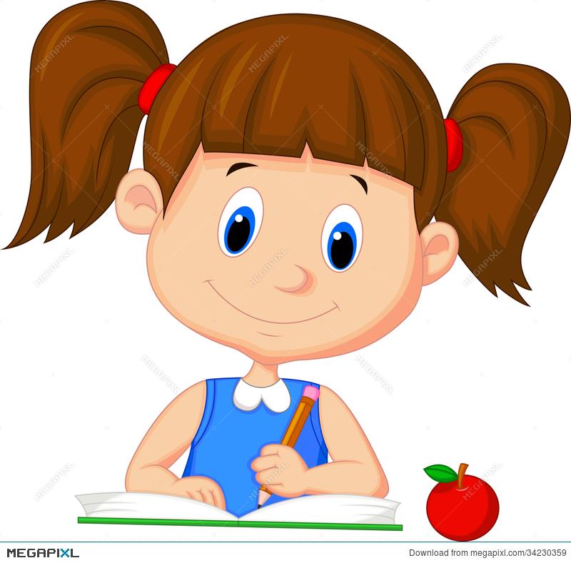 Cute Cartoon Girl Writing On A Book Illustration 34230359.