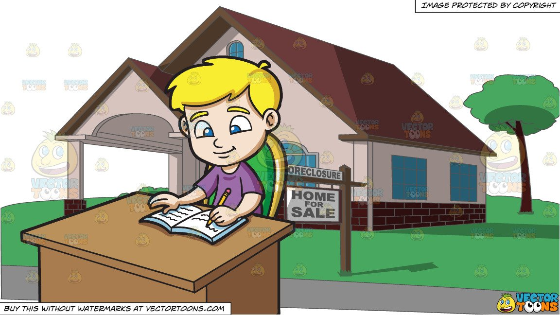 A Boy Writing Down Notes On His Notebook and A Charming House And Lot That  Is Up For Sale.