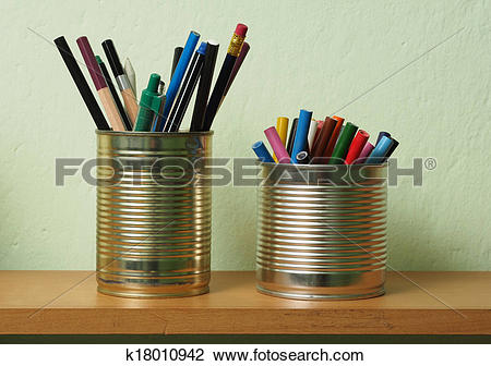 Stock Photo of Upcycling, Writing Accessories in Tin Can k18010942.