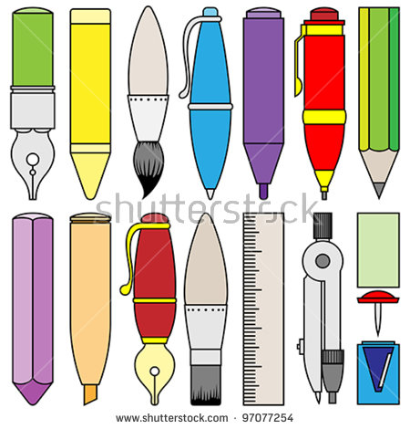 Drawing Writing And Painting Tools And Accessories Stock Vector.