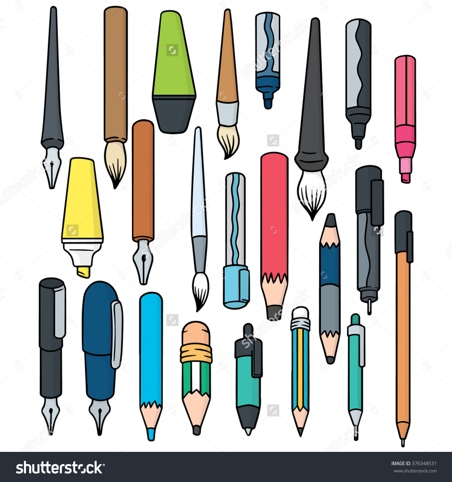 Vector Set Writing Accessories Stock Vector 376348531.