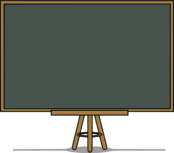 Clipart animated teacher writing on the board with chalk.