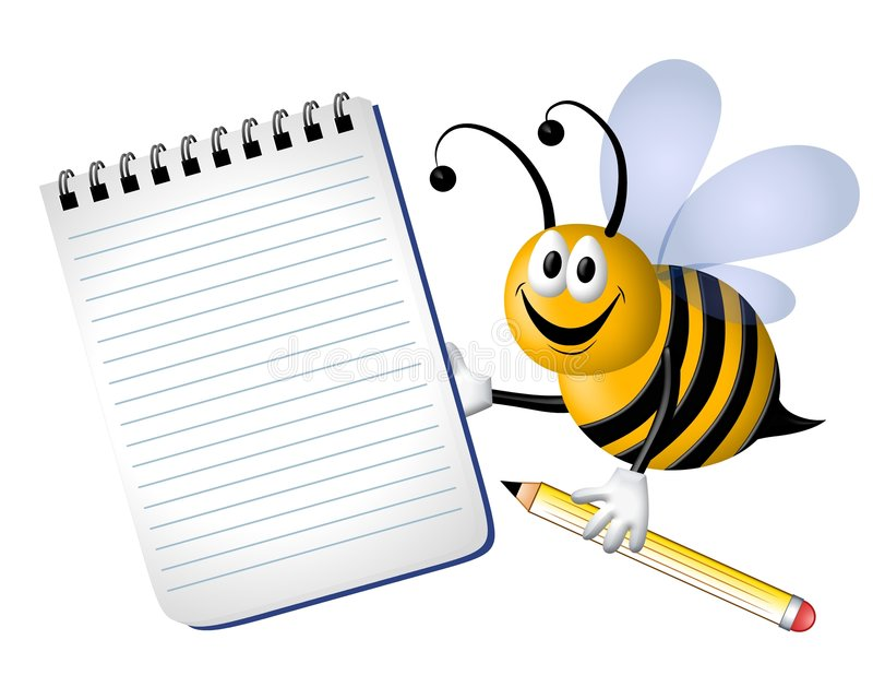 Bee Writing Clipart.