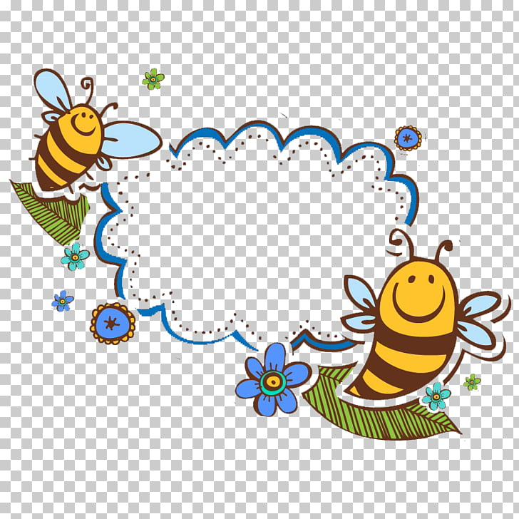 Bee , Bee Writing box, two honey bee art PNG clipart.
