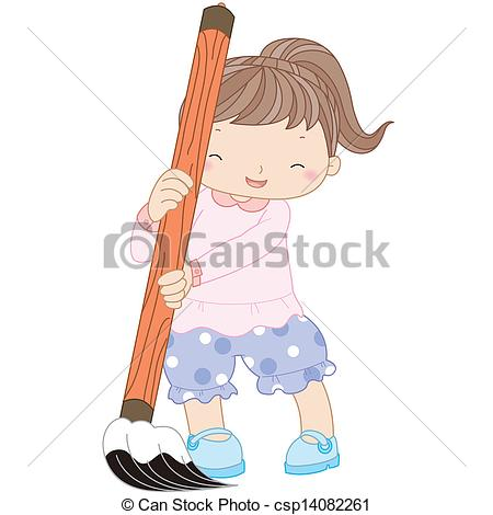Clip Art Vector of illustration of a girl with writing brush.