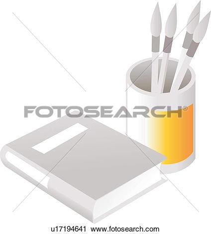 Clipart of writing materials, writing brush, brush.