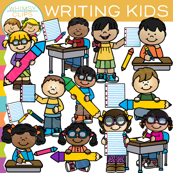 Writing School Kids Clip Art.