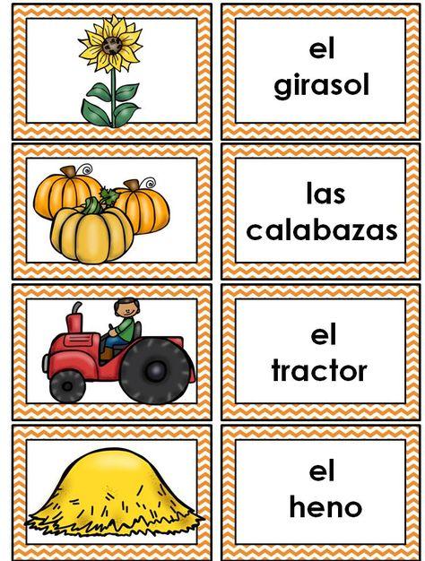 El otoño: Spanish Fall Vocabulary Cards Writing Center Word.