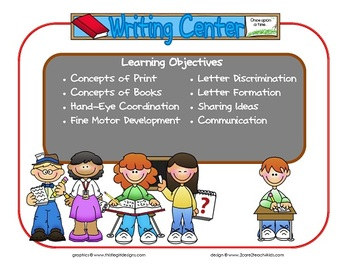 Writing Learning Center Sign~ With Objectives.