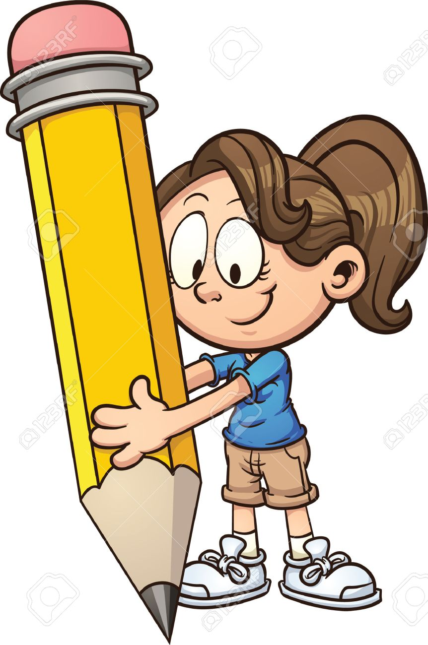 Girl writing with a big pencil Vector clip art illustration...